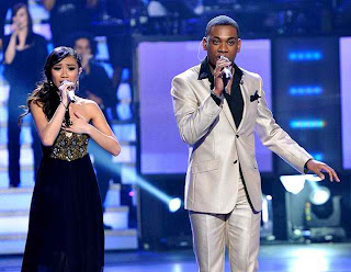 Jessica Sanchez and Joshua Ledet duet during Top 8 performance night