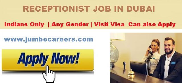 Male Receptionist job. Receptionist job Salary in Dubai 2018.