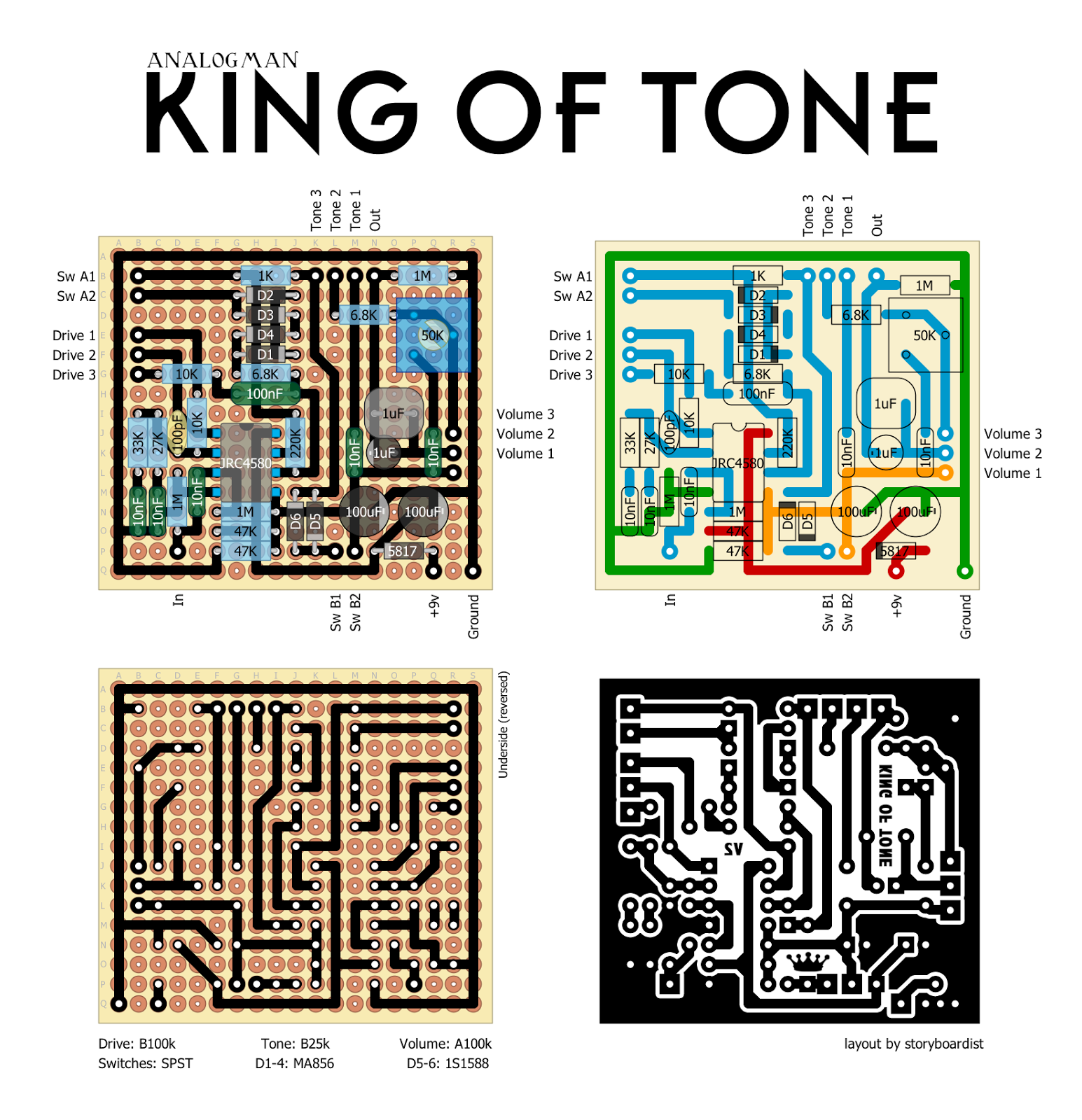 Analogman King Of Tone Schematic Modern Design Wiring Diagram Guitar Pedal Perf And Pcb Effects Layouts Rh Effectslayouts Blogspot Com V4 Best Settings