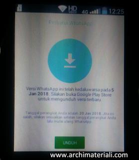 Tampilan Whatsapp Error di Andromax Prime