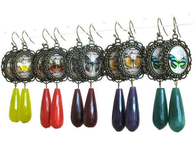 Vlinder oorbellen met jade druppels