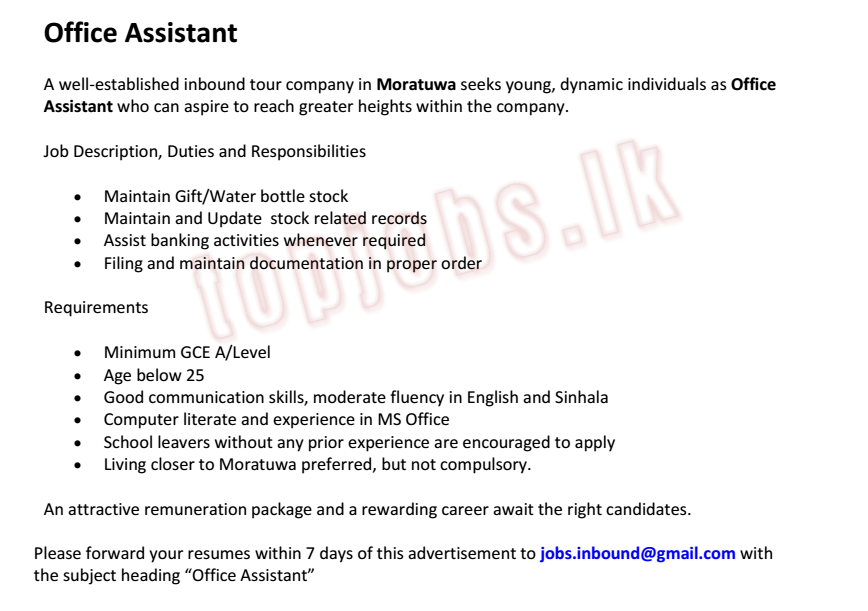 Office Assistant,Vacancy • Find Jobs