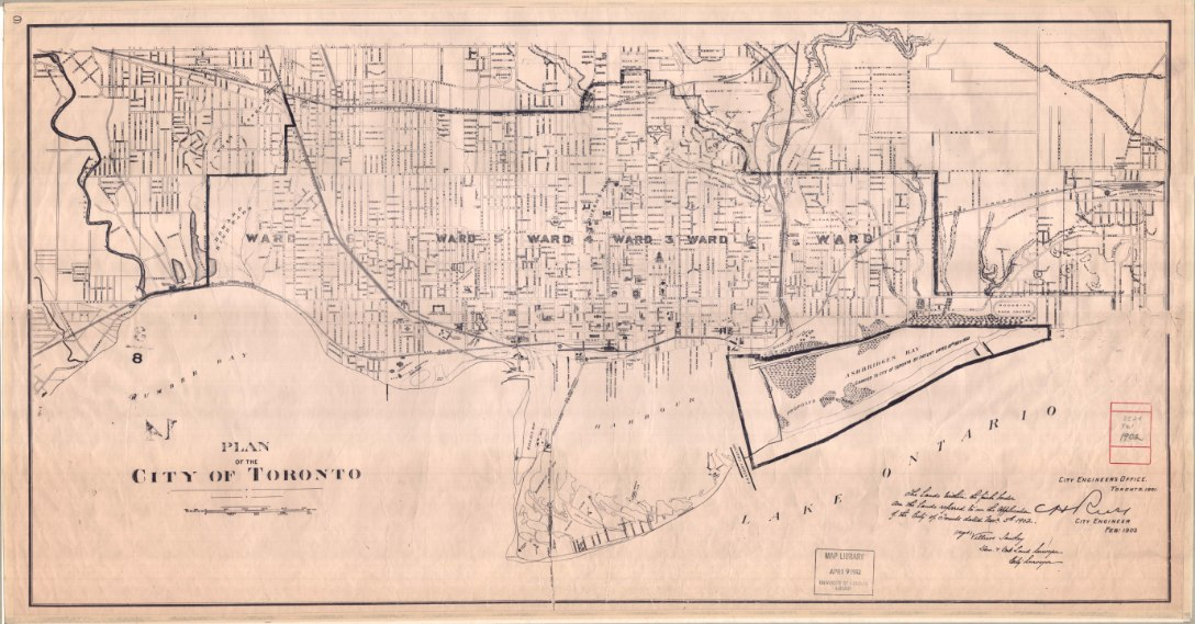 1902 Plan of the City of Toronto, signed by Villiers Sankey, City Surveyor