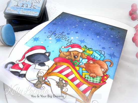 Be Merry Card by November Guest Designer Kelly Latelova | Christmas Delivery and Santa Paws Newton Stamp Sets by Newton's Nook Designs #newtonsnook