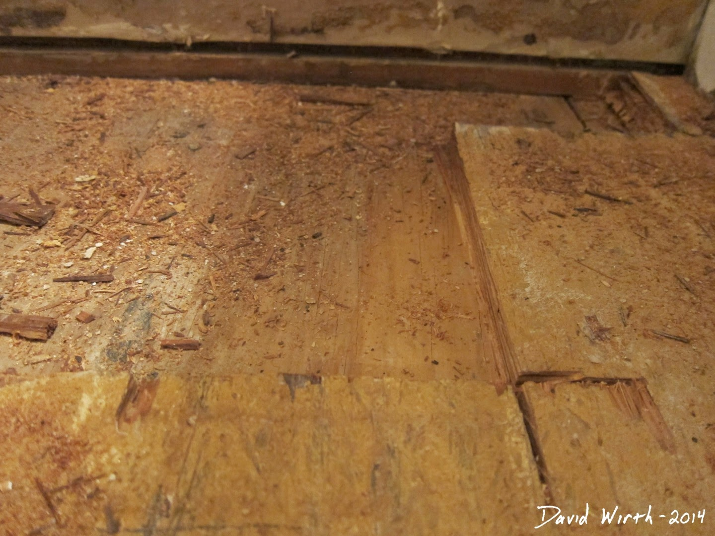 rotted bathroom sub floor, wood, water