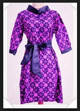 Gaun batik wanita lengan panjang modis
