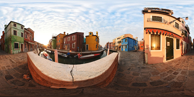 Hi-Fidelity 360° panorama of Burano, Venice Italy at Dawn. Photographed by Kent Johnson.