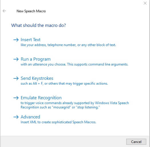 windows new speech macro