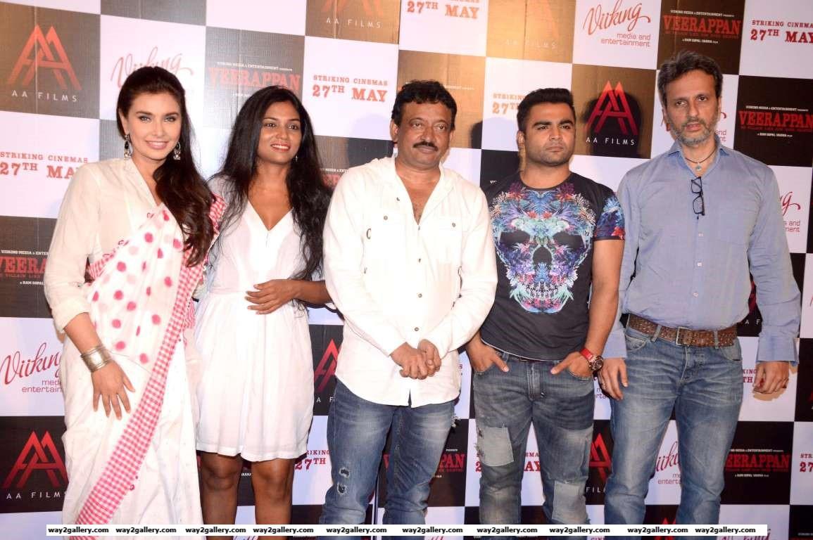 Lisa Ray Usha Jadhav Ram Gopal Varma Sachiin Joshi and Anil Thadani pose for photographers during the trailer launch of Veerappan