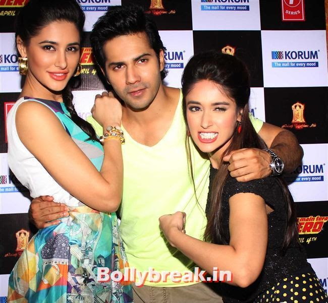 Nargis Fakhri, Varun Dhawan and Ileana D'Cruz, Hot Nargis Fakhri & Ileana Promote Movie Main Tera Hero Movie