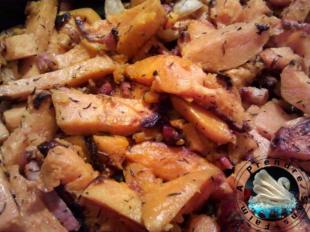 Patates douces aux lardons fumés au four