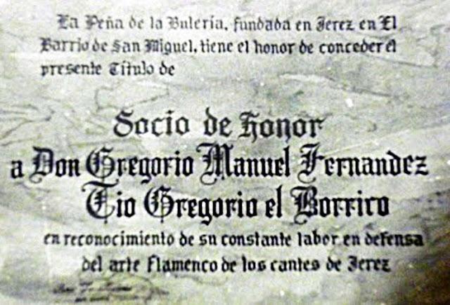 Tío Borrico El Gregorio socio de honor de la Peña Flamenca La Bulería