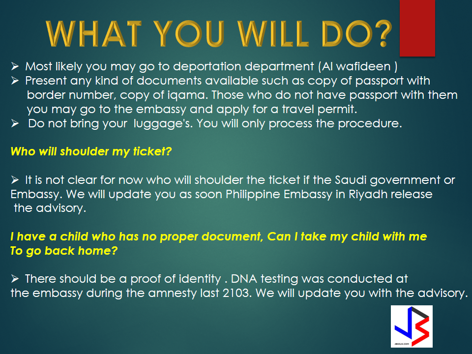"""Who will benefit the amnesty now in KSA?  """"Nation without violation"""", a statement made with the announcement of the Ministry of Interior thru Crown Prince Mohammed Bin Naif Al saud, who is also the Deputy Minister the mentioned. Their campaign of amnesty  will start March 29, 2017.  Please be reminded that the amnesty is applicable to those expats with following situation without police cases.  Who are considered illegal workers?  1. Those expats who overstayed their Hajj and Umrah visit  2. Those expats who took pilgrims without permit.  3. Those expats who entered the KSA border illegally.  4. Expats who has expired visa.  5. Expats who has work permit but without iqama.  6. Those expats who ran away from their company.  Most likely you may go to deportation department (Al wafideen ) Present any kind of documents available such as copy of passport with  border number, copy of iqama. Those who do not have passport with them you may go to the embassy and apply for a travel permit. Do not bring your  luggage's. You will only process the procedure.   Read more from the link for more information."""