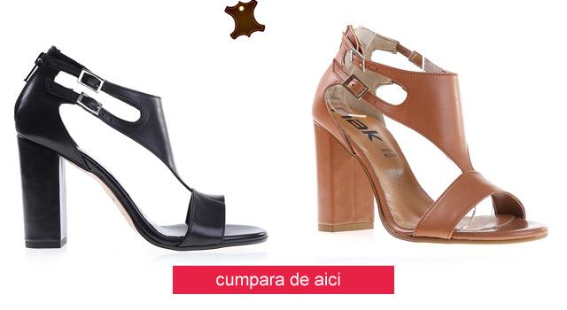 Sandale piele naturala ieftine cu toc inalt gros elegante negre, maro