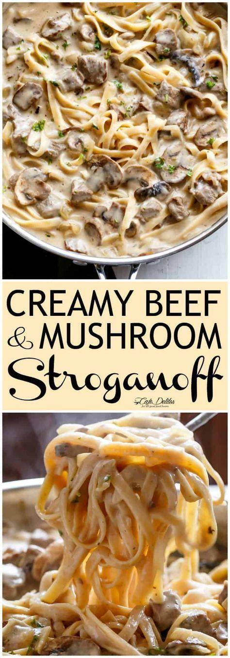 Creamy Beef and Mushroom Stroganoff #maincourse #dinner #creamy #beef  #mushroom #stroganoff