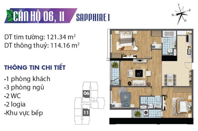 Thiết kế căn hộ số 6 và 11 tòa Sapphire 1