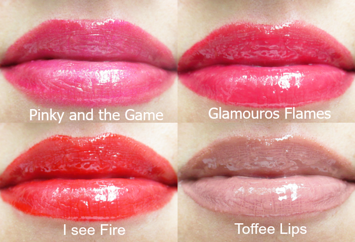Review Tragebilder:  uma cosmetics glossy lipgloss: Shinyrella, pinky and the game, glamouros flames, I see fire, toffee lips