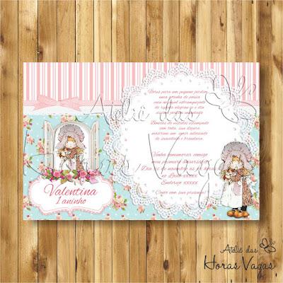 convite digital aniversário infantil personalizado jardim encantado boneca de pano floral azul e rosa delicado menina