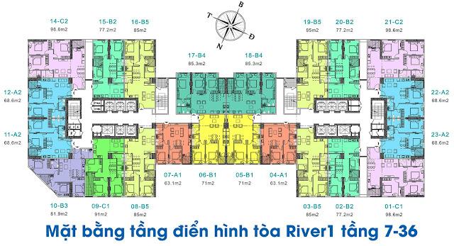 Mặt bằng điển hình căn hộ tòa River-1 tầng 7-36