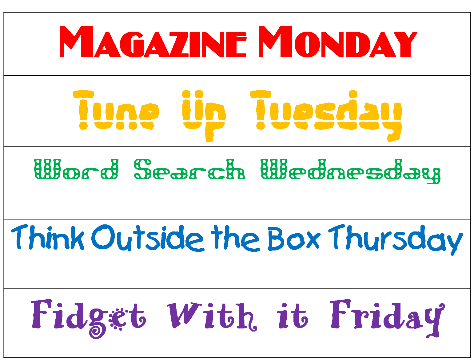 First Grade Wow Think Outside The Box Thursday