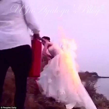 WATCH VIDEO..Girl on Fire: See the Dramatic Moment a Bride Set Her Gown on Fire to Capture Perfect Wedding Picture