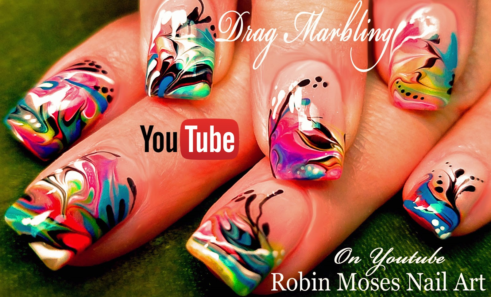 Nail Art By Robin Moses Essie Neons Will Glow Your Mind No Water Dry And Drag Marble Rainbow Neon Nails