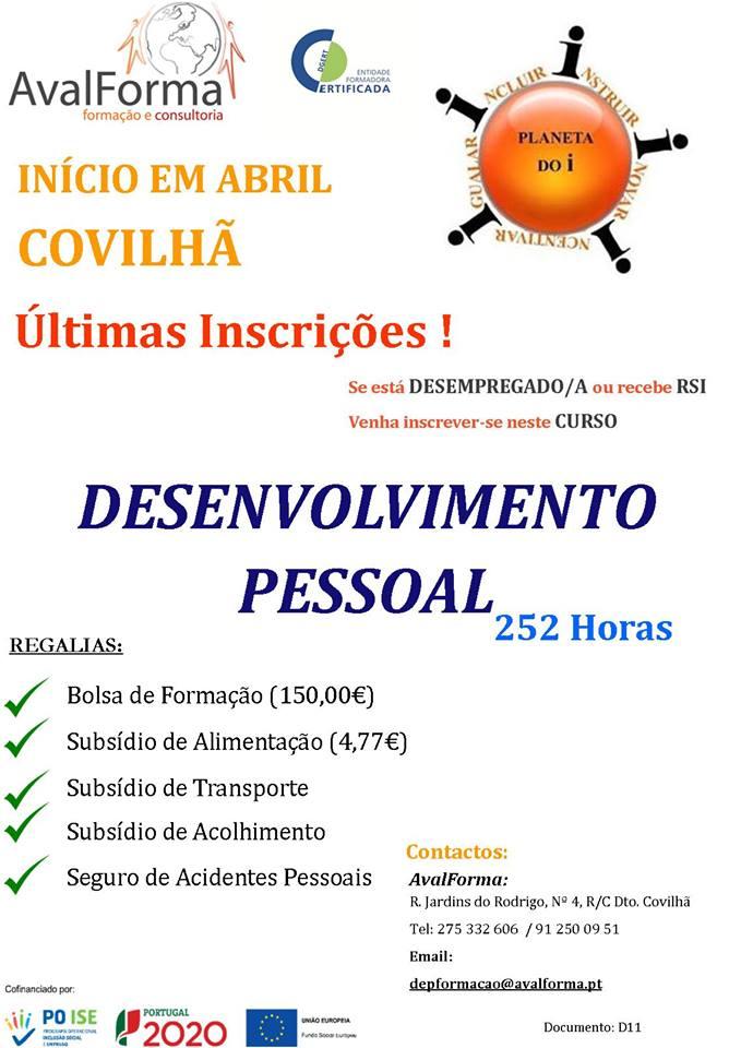 Curso de Desenvolvimento Pessoal na Covilhã (com bolsa de formação e subsídios)