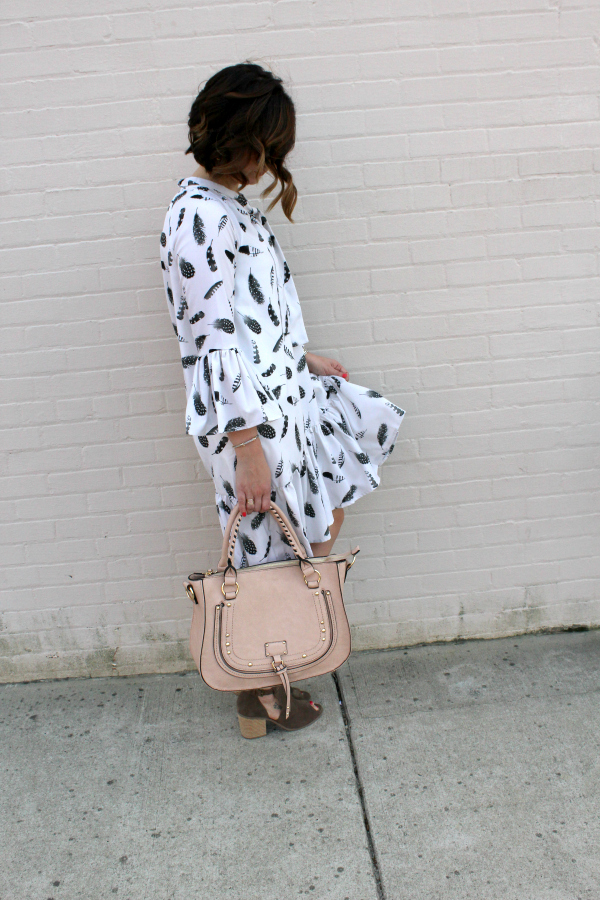 custom dress, eshakti, mom style, style on a budget, blush bag, peep toe boots