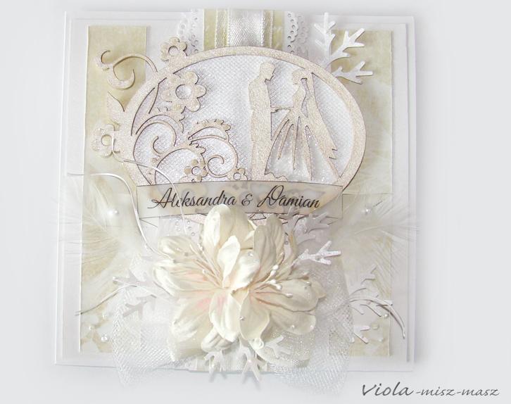 śnieżna kartka ślubna