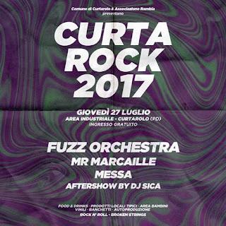 Flyer con la Serata con Fuzz Orchestra, Mr Marcaille, Messa, Dj Sica