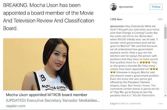"DJ Mo Twister Calls Duterte Admin ""Trapo"" After Mocha Uson MTRCB Appointment!"
