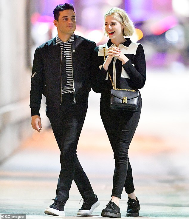 Rami Malek and girlfriend Lucy Boynton wear matching black-and-white outfits