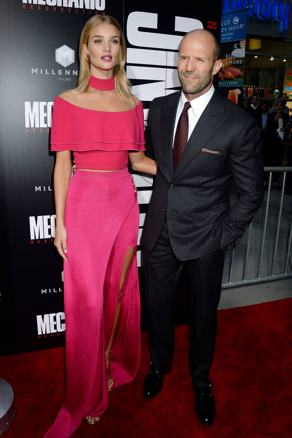 Full HQ Photos of Rosie Huntington Whiteley in Pink Dress – Mechanic Resurrection Premiere in Los Angeles