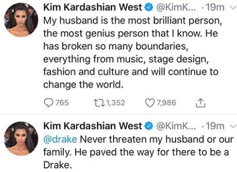 Kim Kardashian Gives Last Warning To Drake For Criticizing And Threatening  Her Hubby