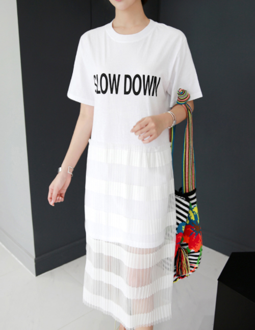 SLOW DOWN Pleated Panel Dress