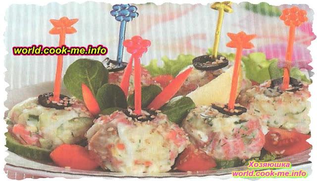 Закусочные шарики из сёмги и картофеля