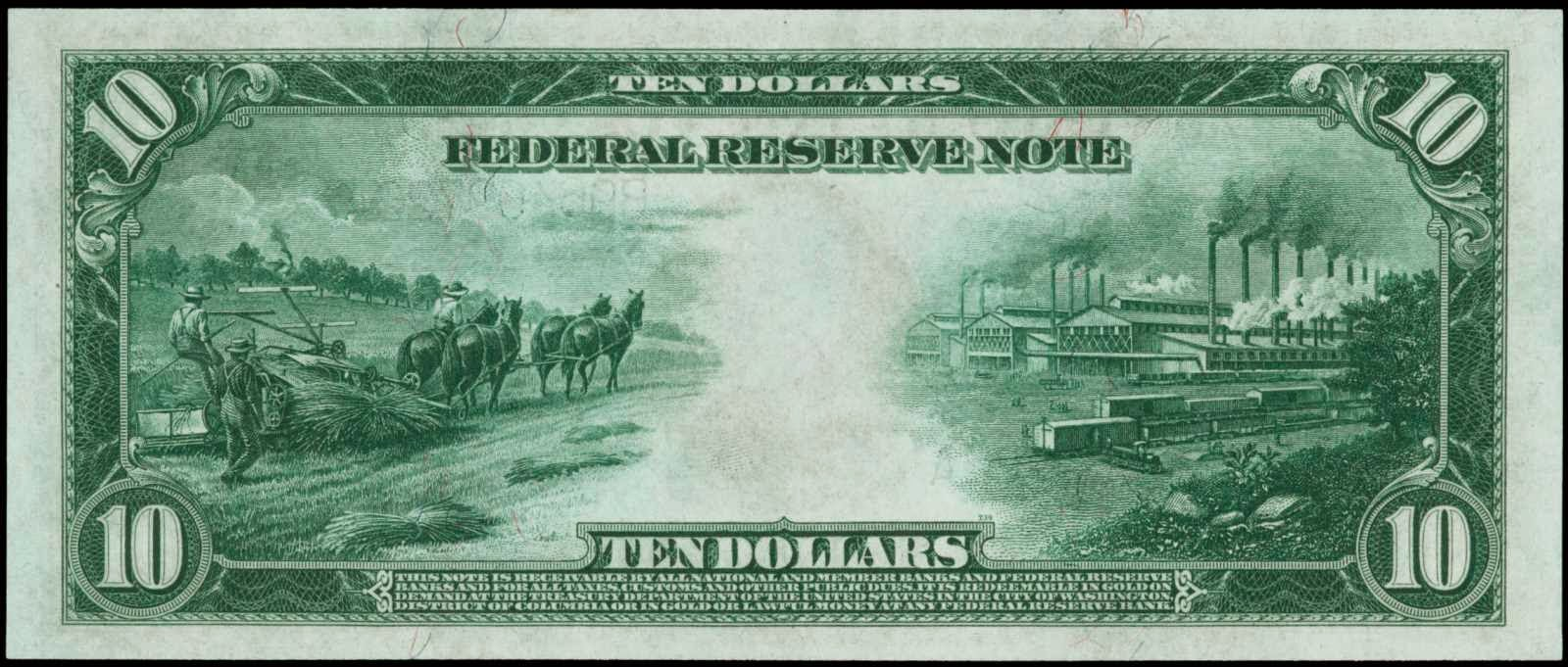 US Currency Large Size 1914 Ten Dollars Federal Reserve Note