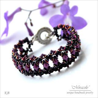 fioletowa bransoletka z diamonduo, violet bracelet