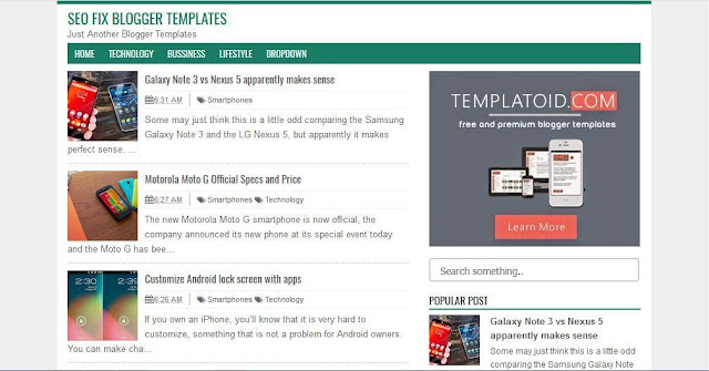 Seo Fix Blogger - Template Blog Simple Sederhana Gratis