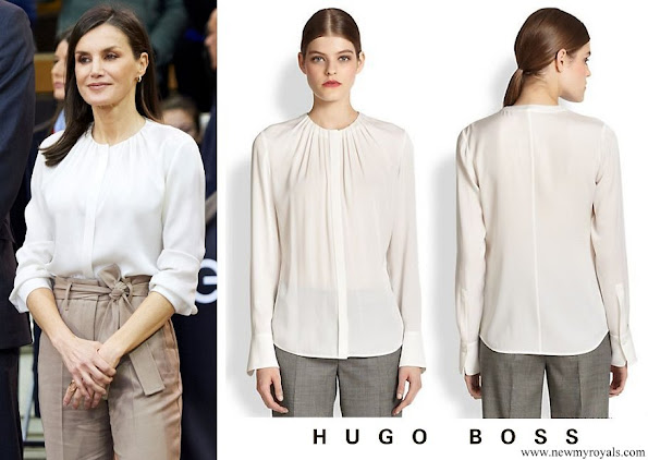 Queen Letizia wore Hugo Boss Banora2 Silk Blouse