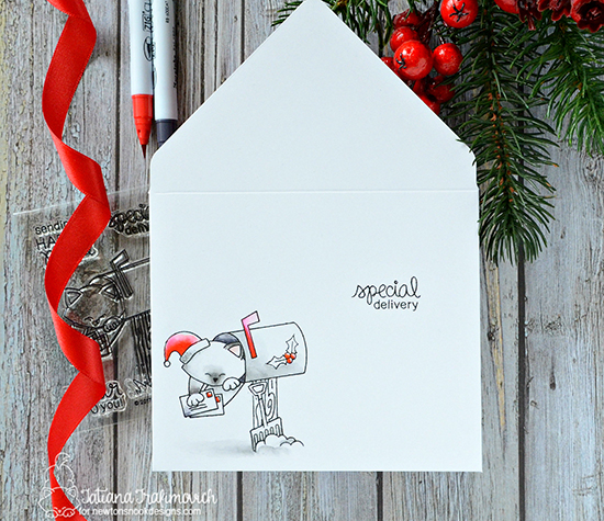 Custom Holiday Envelopes by Tatiana Trafimovich | Newton's Happy Mail Stamp Set by Newton's Nook Designs #newtonsnook #handmade