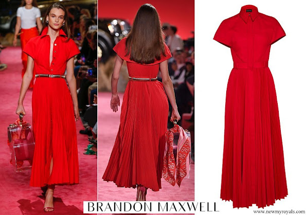 Meghan Markle wore Brandon Maxwell Pleated Button Up Shirt Dress