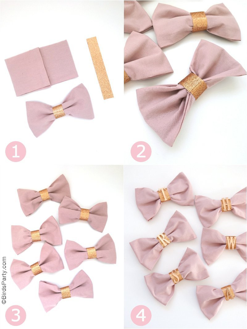 Serviettes en Nœud Papillon & DIY Ronds de Serviette Cuivrés - un  projet bricolage facile et rapide pour embellir vos tables en fête de Noel! by BIrdsParty.fr #diy #serviettescreatives #diyrondserviette #rosecuivre #tablenoel #ideesnoel #decornoel
