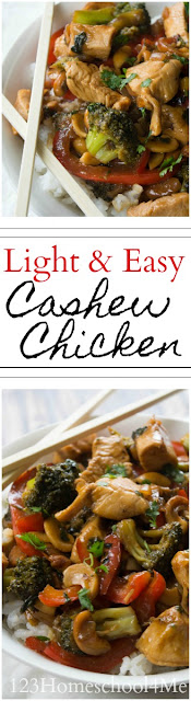 Light and Easy Cashew Chicken Recipe - super easy to make, yummy Chinese food that tastes better and is better for you than take out! New family favorite recipe
