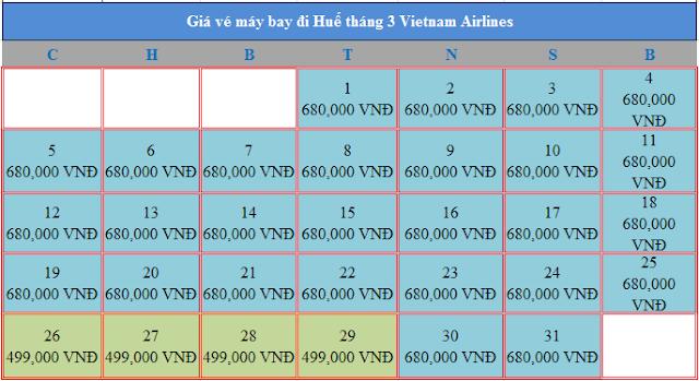 Giá vé máy bay đi Huế tháng 3