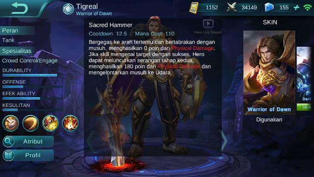 Tigreal, Jenis Hero Dalam Game Mobile Legends