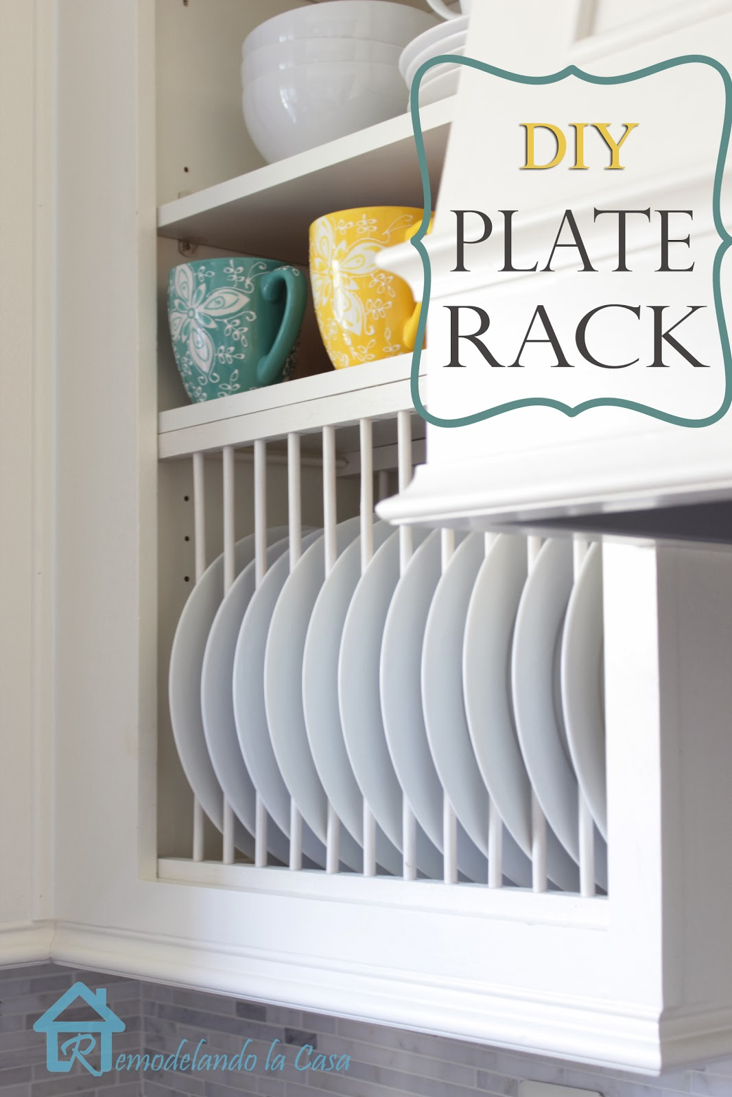 how to build a plate rack inside existing cabinet