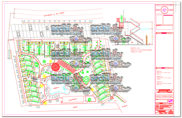 - Horizontal projections of the project Hotel and bungalows project dwg