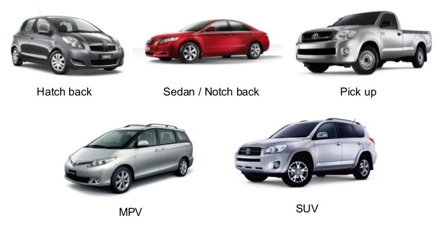 Sedan, SUV, Crossover, MPV,