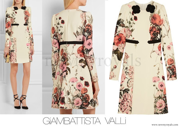 Princess Madeleine wore GIAMBATTISTA VALLI Appliquéd printed crepe dress